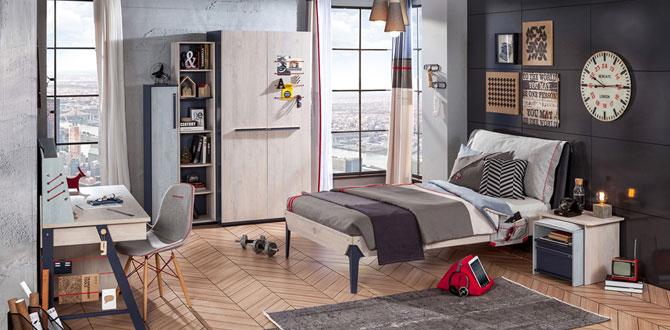 Fonksiyonel ve hayatı kolaylaştıran genç odası: Çilek Trio Serisi
